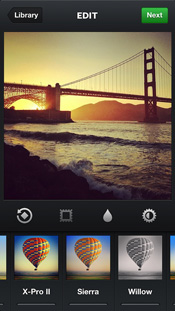 Instagram visual effects edit photographs with different filters